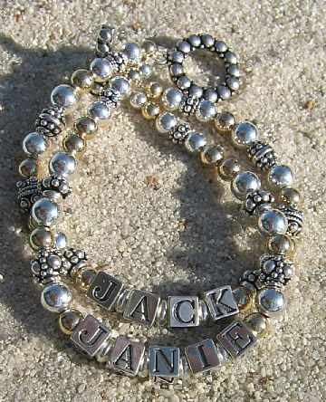 personalized beaded name bracelet for mom